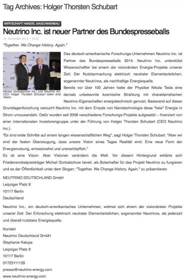 Neutrino Deutschland GmbH auf abwegen