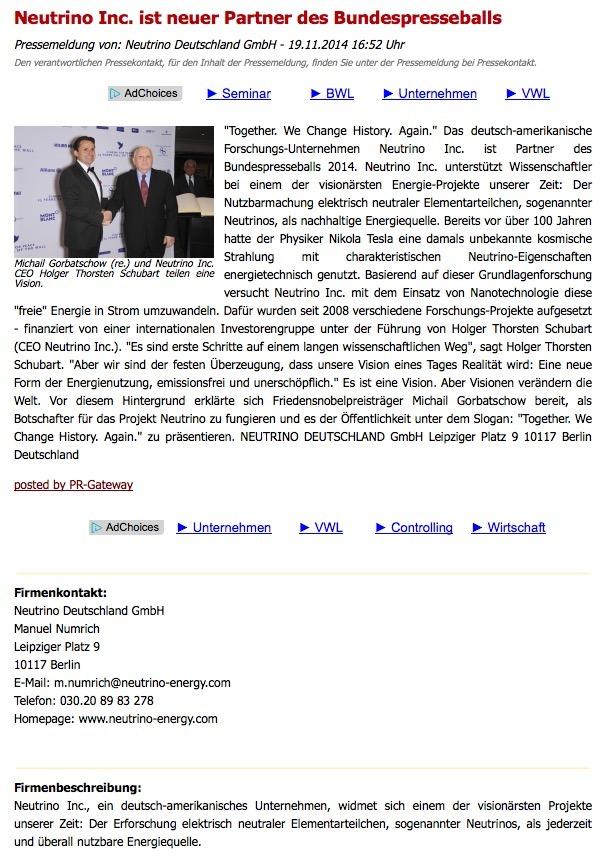 Manuel Numrich (Rechtsanwalt und Geschäftsführer) bringt ungeprüft die Sensationsmeldung des Holger Thorsten Schubart